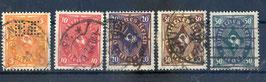Deutsches Reich POSTHORN 205-209 gestempelt