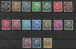 Deutsches Reich FREIMARKE PAUL v. HINDENBURG 512X-528X gestempelt