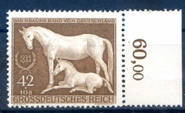 Deutsches Reich GALOPPRENNEN DAS BRAUNE BAND von DEUTSCHLAND 899 postfrisch als Seitenrandstück