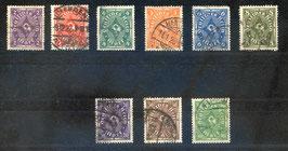 Deutsches Reich FREIMARKE POSTHORN 224-232 gestempelt