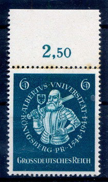 Deutsches Reich 400 JAHRE UNIVERSITÄT KÖNIGSBERG 896 postfrisch als Oberrandstück