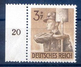 Deutsches Reich ARBEITSDIENST 850 postfrisch als Seitenrandstück