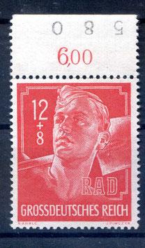 Deutsches Reich AUSSTELLUNG REICHSARBEITSDIENST 895 postfrisch als Oberrandstück