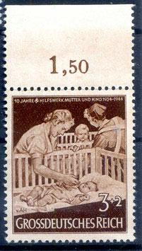 Deutsches Reich 10 JAHRE HILFSWERK MUTTER und KIND 869 postfrisch als Oberrandstück