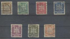 Deutsches Reich FREIMARKE 355-361 X gestempelt