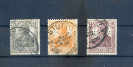 Deutsches Reich GERMANIA 98-100 gestempelt