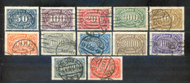 Deutsches Reich FREIMARKE ZIFFERN 246-257 gestempelt