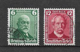 Deutsches Reich 50 JAHRE KRAFTWAGEN 604-605 gestempelt