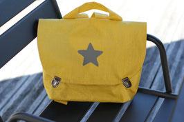 Cartable maternelle  lin enduit jaune personnalisable