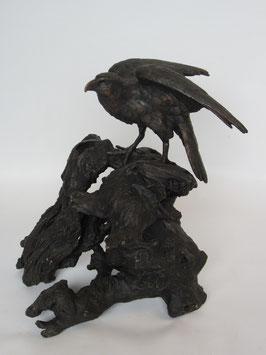 Adler Baumstamm Bronze Figur - H: 40 cm