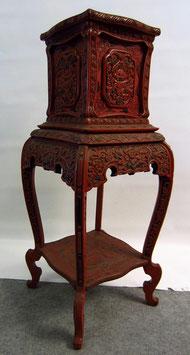 Säule China Möbel Antik Rotlack - H: 90 cm