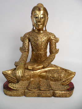 Buddha - Holzbuddha - sitzend - Buddhastatue - gold - Mandalay - 60x40 cm