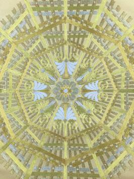 袋帯引箔青金地縫の金華紋