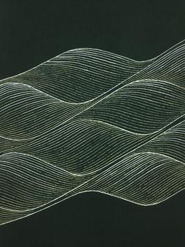 染帯塩瀬鉄紺地縫箔線波重ね