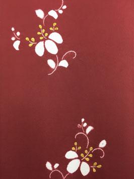 付下梨地赤紫地絞り縫桐唐草