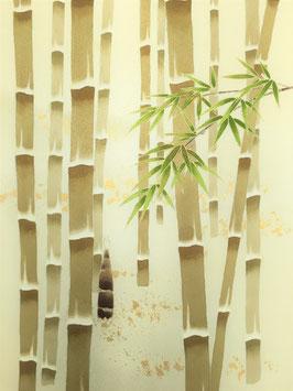染帯紋生地薄クリーム地縫入竹林