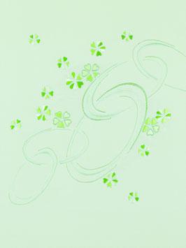 染帯塩瀬白緑地縫小花に輪つなぎ