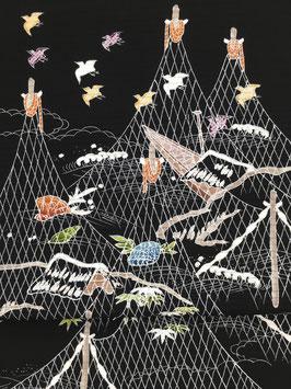 絽染帯黒地干網に千鳥