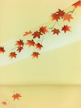 染帯塩瀬クリーム地箔砂子紅葉
