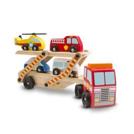 Houten Autotransporter met hulpdiensten | Melissa & Doug