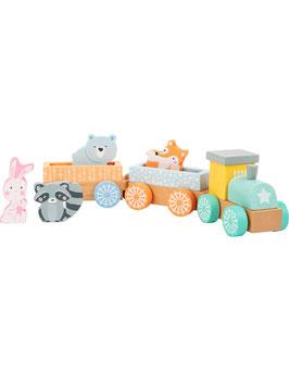 Small Foot | Houten dieren trein in pastelkleur