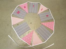 Vlaggenlijn | Met naam 3 meter | Roze, grijs