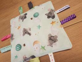 Knisperdoekje | Mint-groen Olifantje, Nijlpaard, sterren, maan