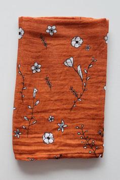 Hydrofiele doek | Oranje met bloemen