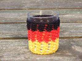 Teelichtglas in Deutschland-Farben