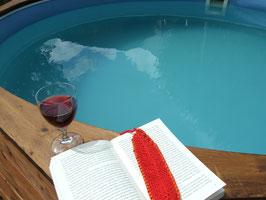 Feder-Lesezeichen aus roter Baumwolle, mit Lederband eingefasst
