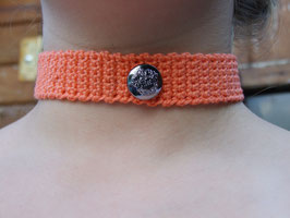 gehäkeltes Kropfband/Trachtenschmuck in orange