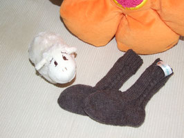 Kinder-Trachten-Stricksocken in dunkelbraun