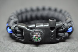 Paracord Armband - Thin Blue Line  King Cobra - Survival