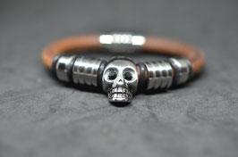 Lederarmband  - Totenkopf - brown