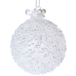 Weihnachtskugel Perlen weiß