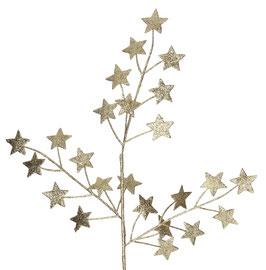 Zweig mit glitzernden Sternen