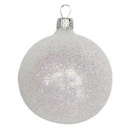 Weihnachtskugel weiß glitzernd
