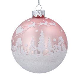 Weihnachtskugel matt rosa