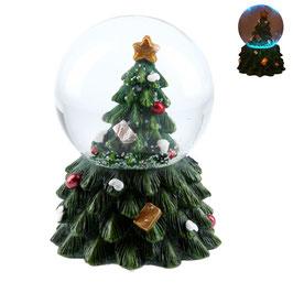 Schneekugel Weihnachtsbaum LED