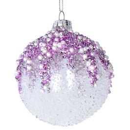 Weihnachtskugel Perlen rosa/lila