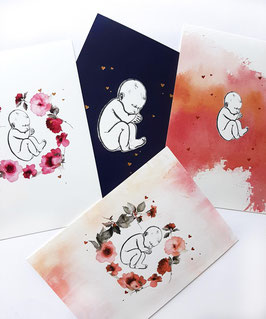 4 x A5 ARTCARDS BABY FOLIEPRINT