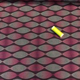 Modal  Terry , grafisch aubergine-pink