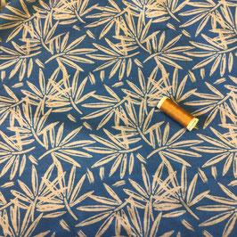 Jersey Blätter blau-beige