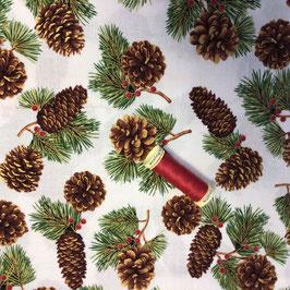 PW - Stoff Zapfen und Zweige gold