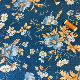 Patchwork Grosse Blumen blau-natur-camel