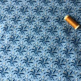 Patchwork Blattranke mittelblau-blau