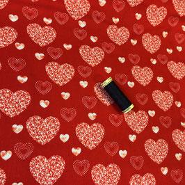 PW-Stoff Herzen rot-weiss