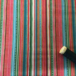 PW-Stoff Streifen rot-bunt