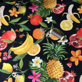 Dekostoff Früchte schwarz-bunt