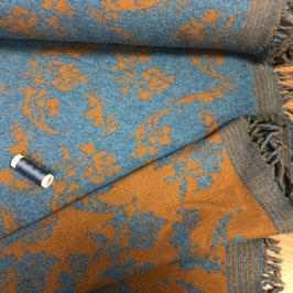 Jacquard-Strick mit Fransen, beidseitig, 185 cm breit, Senf-blau floral